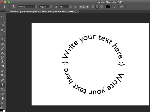 type in the circle