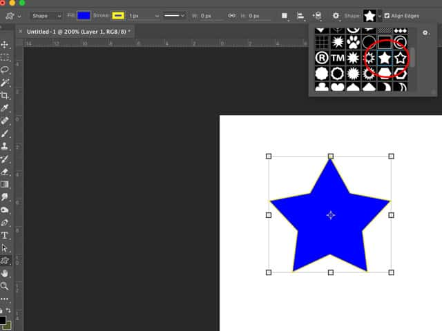Star shape in Adobe Photoshop