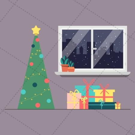 window and christmas tree