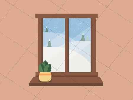 winter window snowfall