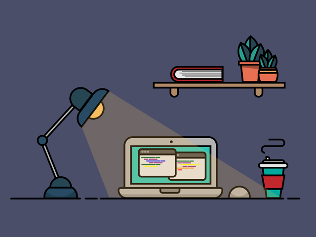web developer desk with lamp and coffee