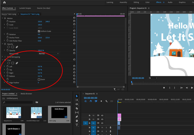 slide text effect in Premiere Pro