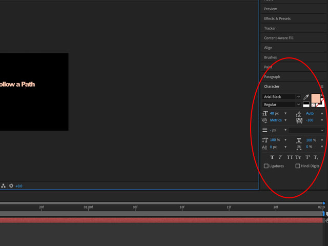 text follow a path After Effects