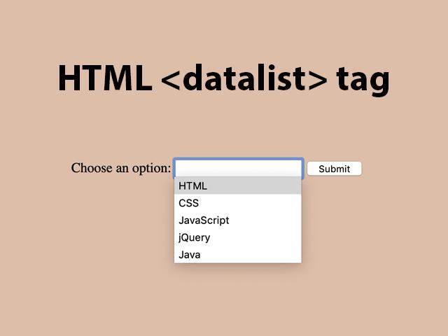 HTML datalist tag