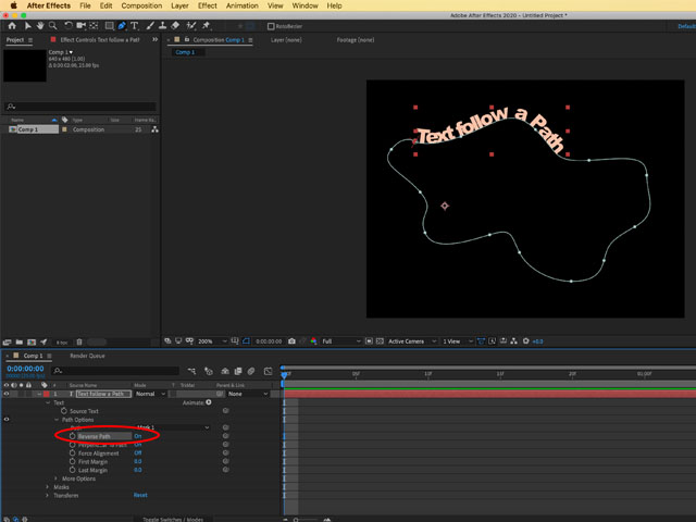 Text follow a path Adobe After Effects