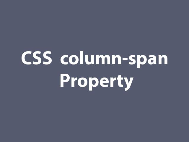 CSS  column-span Property