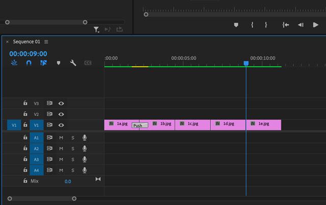 Adobe Premiere Pro Push Effect