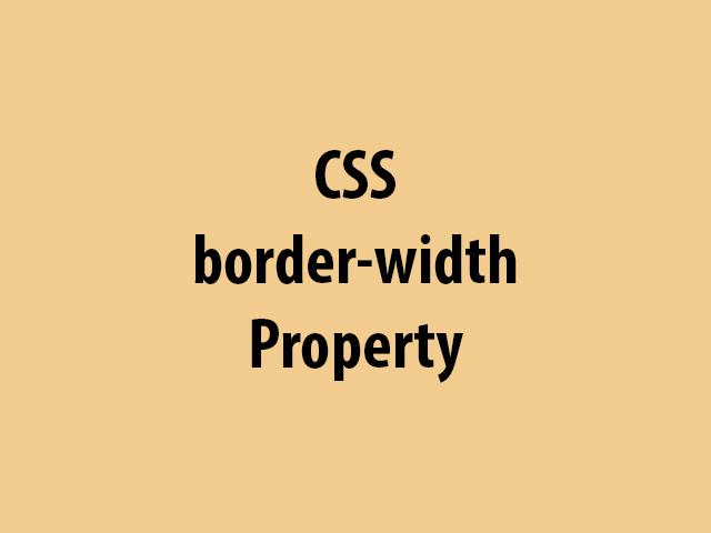 CSS border-width Property