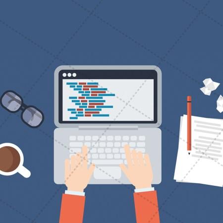 Web developer desk - Vector Image